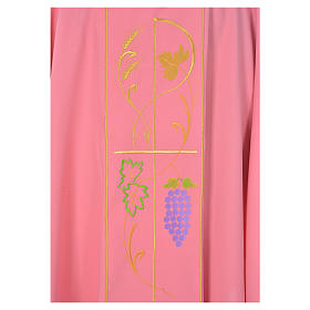 Pink chasuble in 100% polyester, ears of wheat, grapes s3