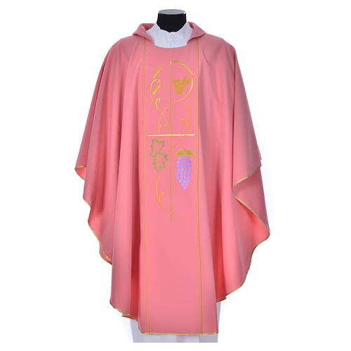 Pink chasuble in 100% polyester, ears of wheat, grapes 1