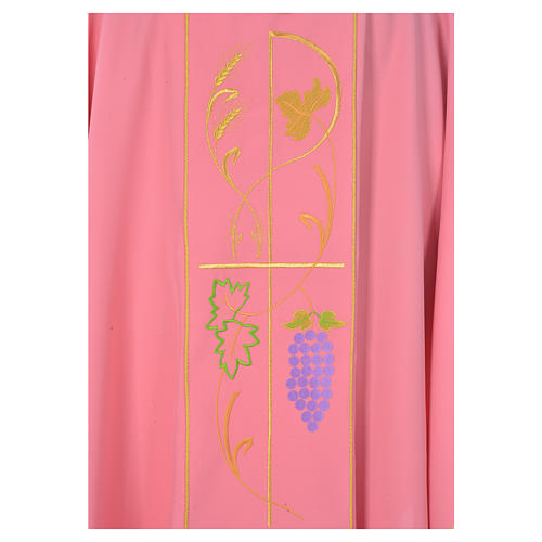Pink chasuble in 100% polyester, ears of wheat, grapes 3