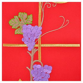 Chasuble in 100% polyester, Chi-Rho ears of wheat, grapes s12
