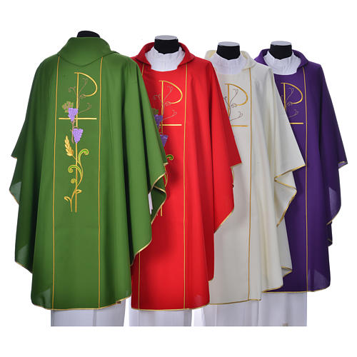 Chasuble in 100% polyester, Chi-Rho ears of wheat, grapes 10