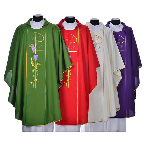 Chasuble in 100% polyester, Chi-Rho ears of wheat, grapes 1