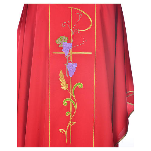 Chasuble in 100% polyester, Chi-Rho ears of wheat, grapes 3