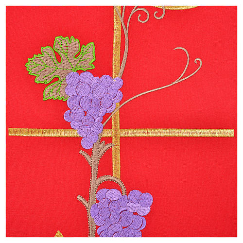 Chasuble in 100% polyester, Chi-Rho ears of wheat, grapes 4