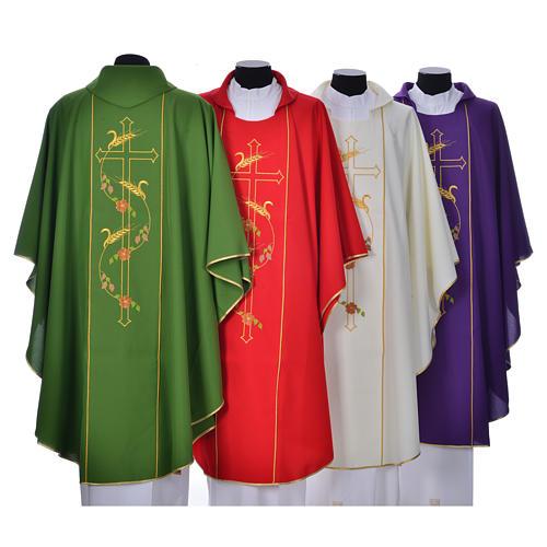 Casula sacerdotale 100% poliestere croce spighe 2