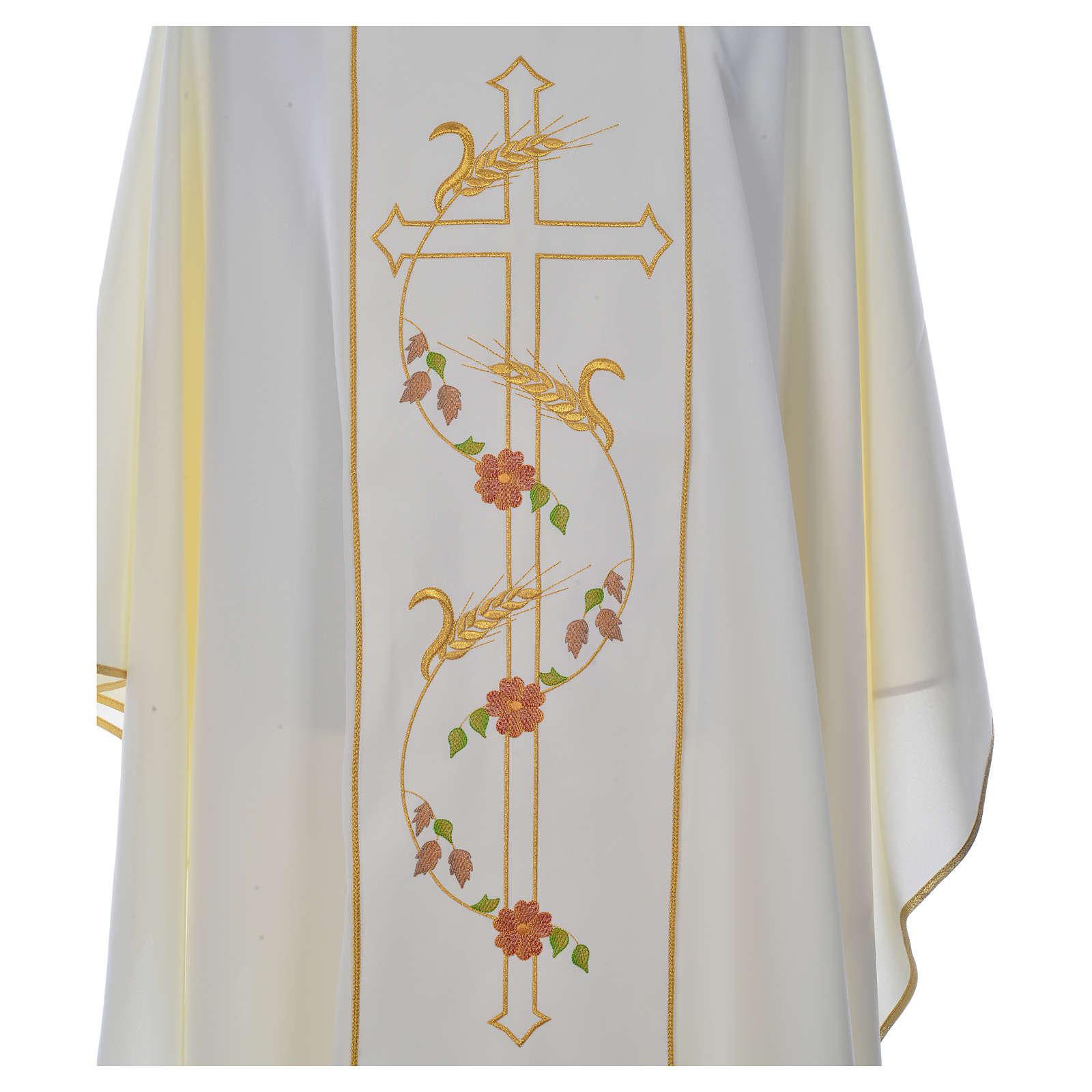Casula sacerdote 100% poliéster cruz trigo 4