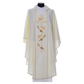 Casula sacerdote 100% poliéster cruz trigo s4