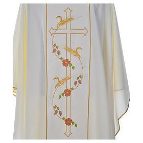 Casula sacerdote 100% poliéster cruz trigo s5