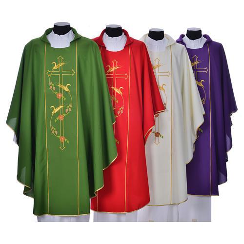 Casula sacerdote 100% poliéster cruz trigo 1