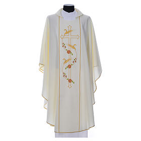 Chasuble in 100% polyester, cross, ears of wheat s4