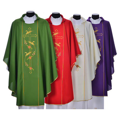 Chasuble in 100% polyester, cross, ears of wheat 1