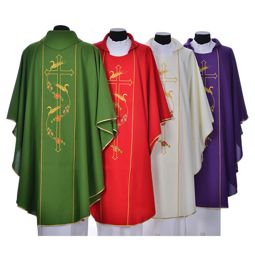 Chasuble in 100% polyester, cross, ears of wheat 2