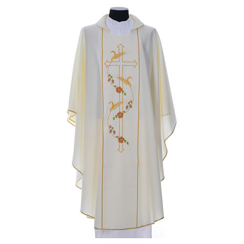Chasuble in 100% polyester, cross, ears of wheat 4
