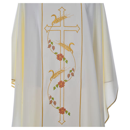 Chasuble in 100% polyester, cross, ears of wheat 5