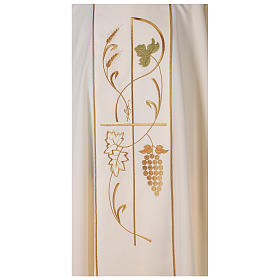 Chasuble in 100% polyester, ears of wheat, grapes s2