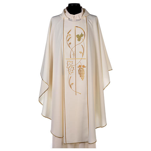 Chasuble in 100% polyester, ears of wheat, grapes 1
