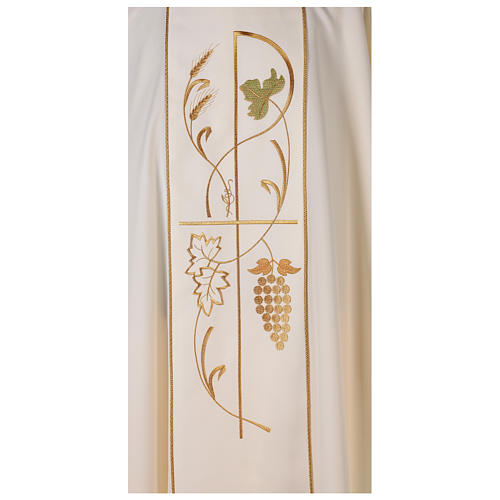 Chasuble in 100% polyester, ears of wheat, grapes 2