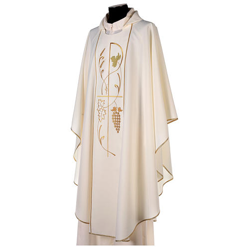 Chasuble in 100% polyester, ears of wheat, grapes 3