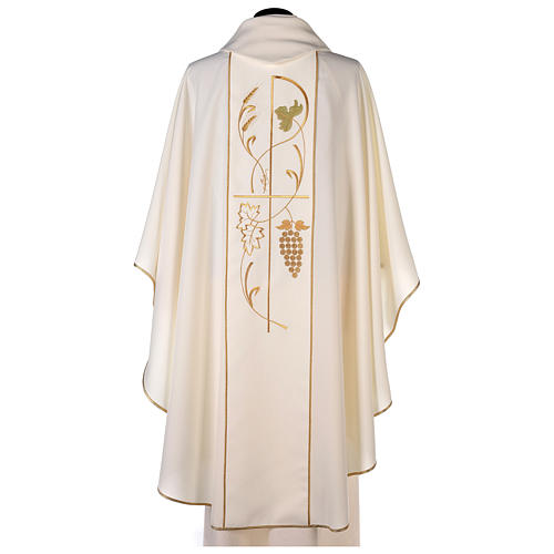 Chasuble in 100% polyester, ears of wheat, grapes 4