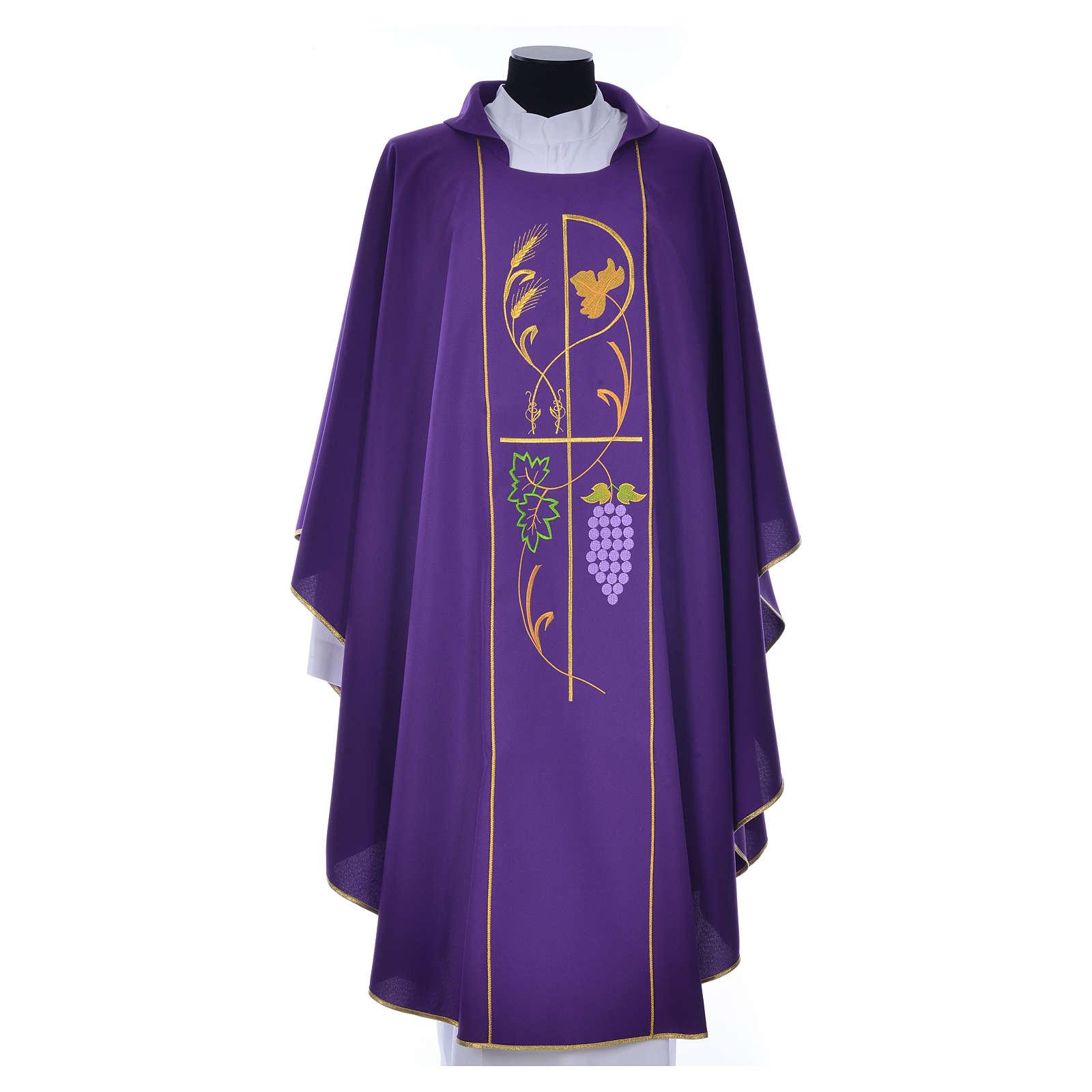 Casula sacerdotale 100% poliestere spighe uva 4