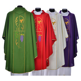 Casula sacerdotale 100% poliestere spighe uva s2