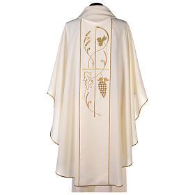 Casula sacerdote 100% poliéster trigo uva s4