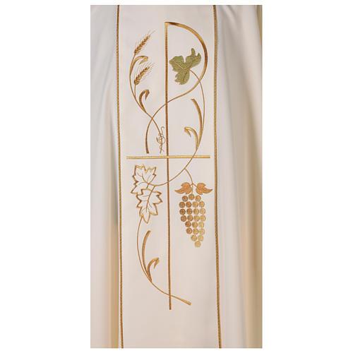Casula sacerdote 100% poliéster trigo uva 2