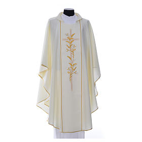 Chasuble in 100% polyester, cross, lily s6