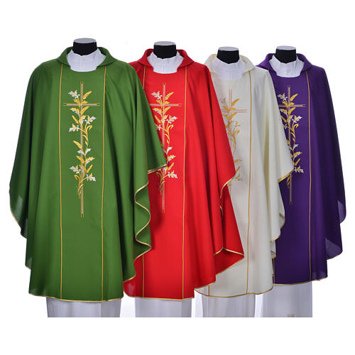 Chasuble in 100% polyester, cross, lily 1
