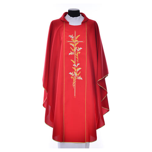 Chasuble in 100% polyester, cross, lily 5