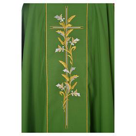 Chasuble liturgique 100% polyester croix lys s3