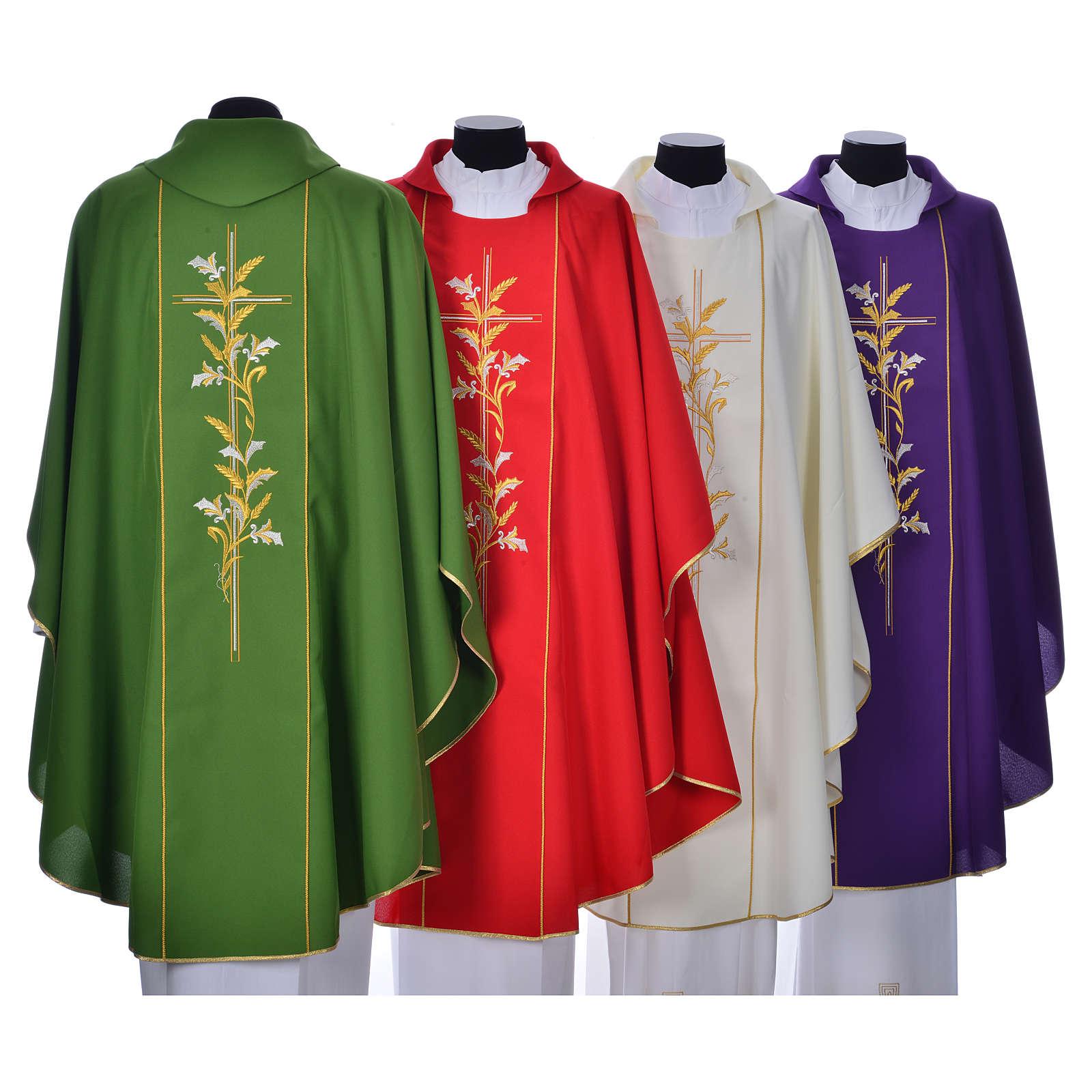 Casula sacerdotale 100% poliestere croce gigli 4