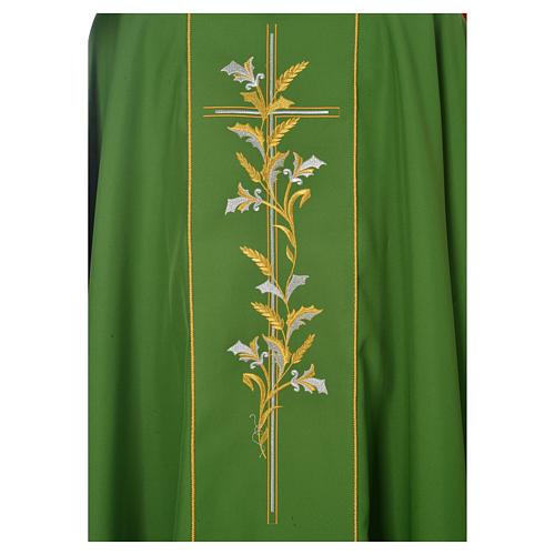 Casula sacerdotale 100% poliestere croce gigli 3