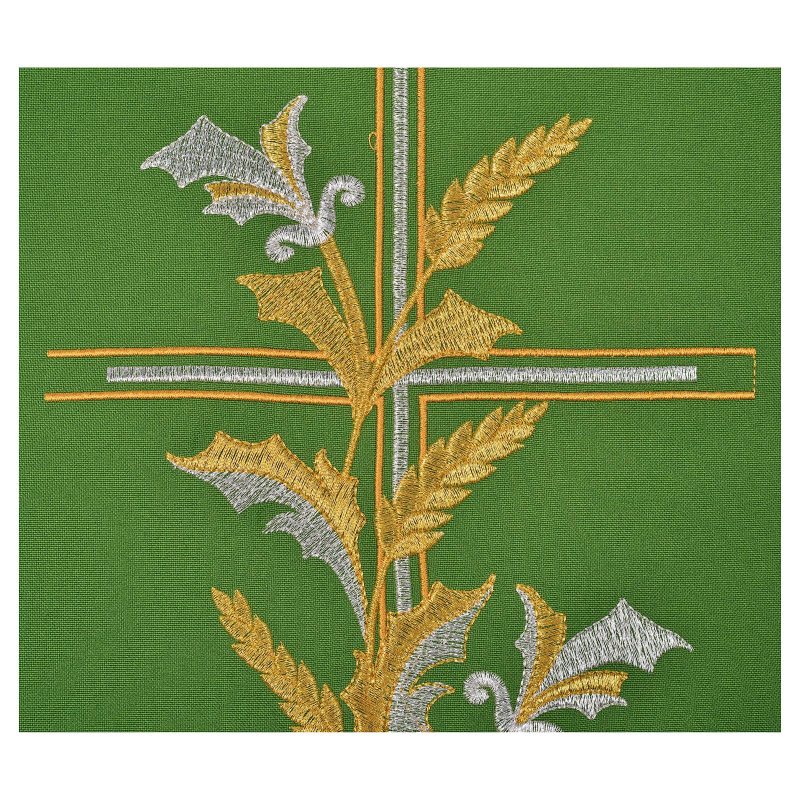 Casula sacerdote 100% poliéster cruz lírios 4