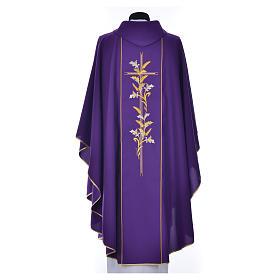 Casula sacerdote 100% poliéster cruz lírios s7