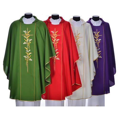 Casula sacerdote 100% poliéster cruz lírios 1