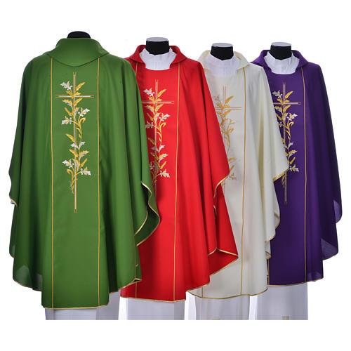 Casula sacerdote 100% poliéster cruz lírios 2
