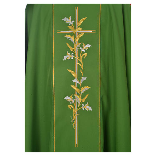 Casula sacerdote 100% poliéster cruz lírios 3