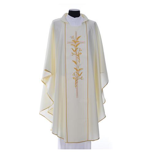 Casula sacerdote 100% poliéster cruz lírios 6