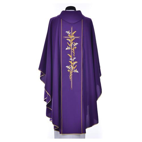 Casula sacerdote 100% poliéster cruz lírios 7