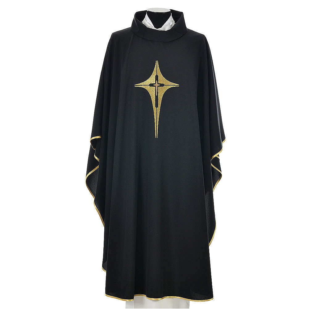 Black chasuble 100% polyester, stylised cross 4