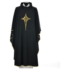 Black chasuble 100% polyester, stylised cross s4
