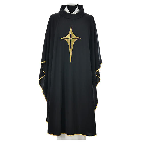 Black chasuble 100% polyester, stylised cross 1