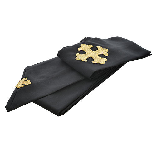 Black chasuble 100% polyester, stylised cross 3