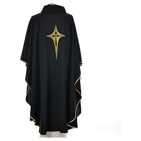 Casulla negra 100% poliéster con cruz estilizada s5