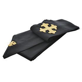 Casulla negra 100% poliéster con cruz estilizada s3