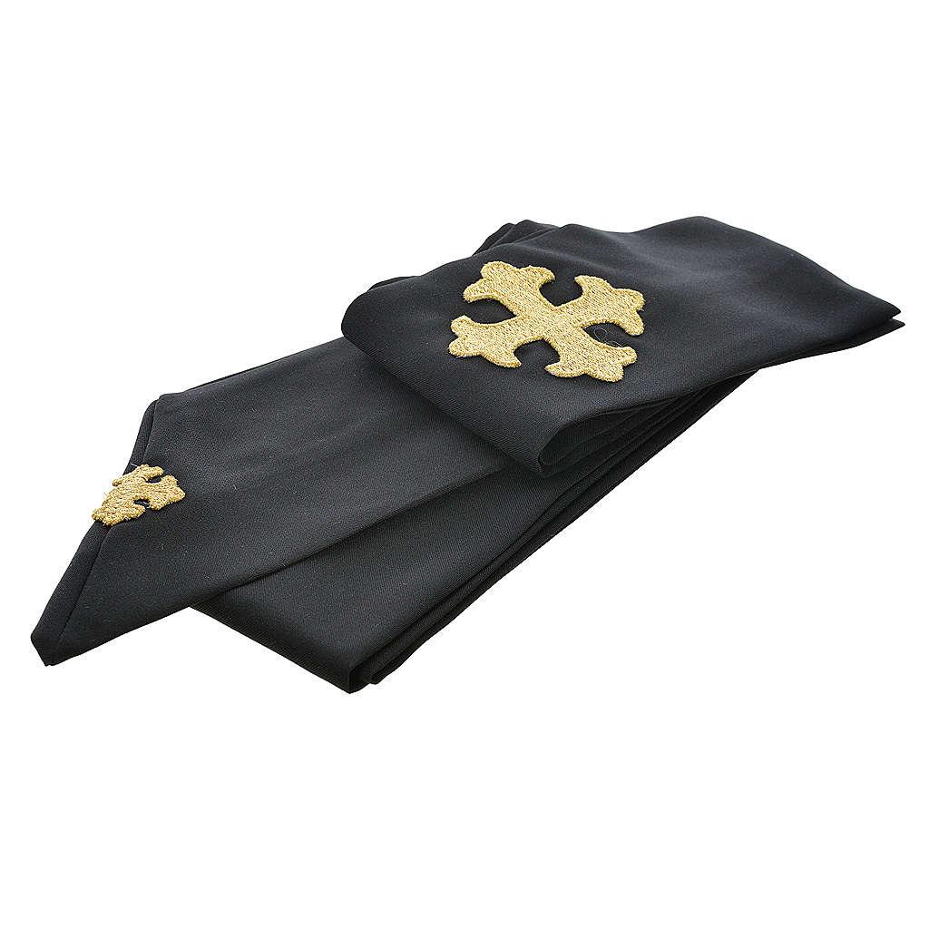 Chasuble noire 100% polyester croix stylisée 4