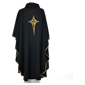 Black Chasuble with Gold Cross 100% polyester s5