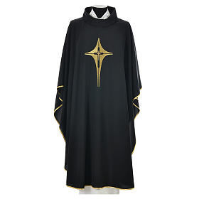 Black Chasuble with Gold Cross 100% polyester s1