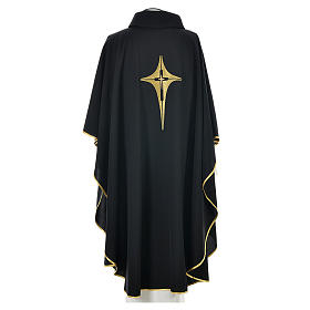 Black Chasuble with Gold Cross 100% polyester s2